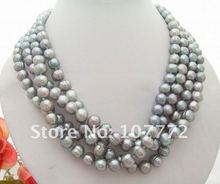 "Charming! 20"" 4 strands 10 mm Grey Pearl Necklace"