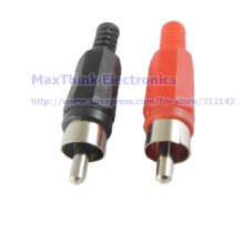 RCA Phono Male Plug Solder Type Audio Video Cable Connector Red + Black , Welding , plastic ,DIY ,50pcs , Free shipping(China)