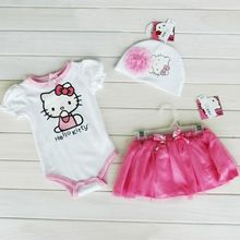 new kids suit Baby Girls clothing sets hello kitty T-shirt tutu skirt HAT 3 piece set children clothes
