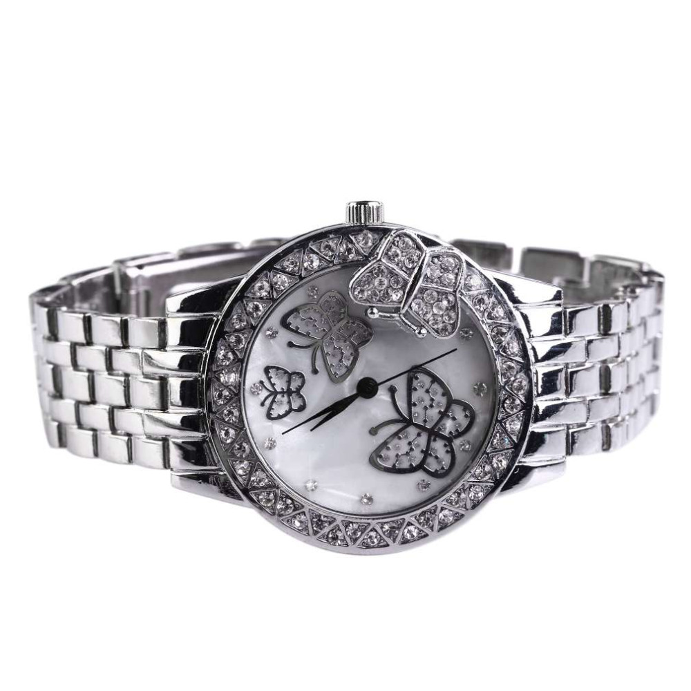 GENBOLI Classic Round Butterfly Style Fashion Ladies Watch Stainless Steel Band Sweet Girls Wristwatches Great Gifts relogio