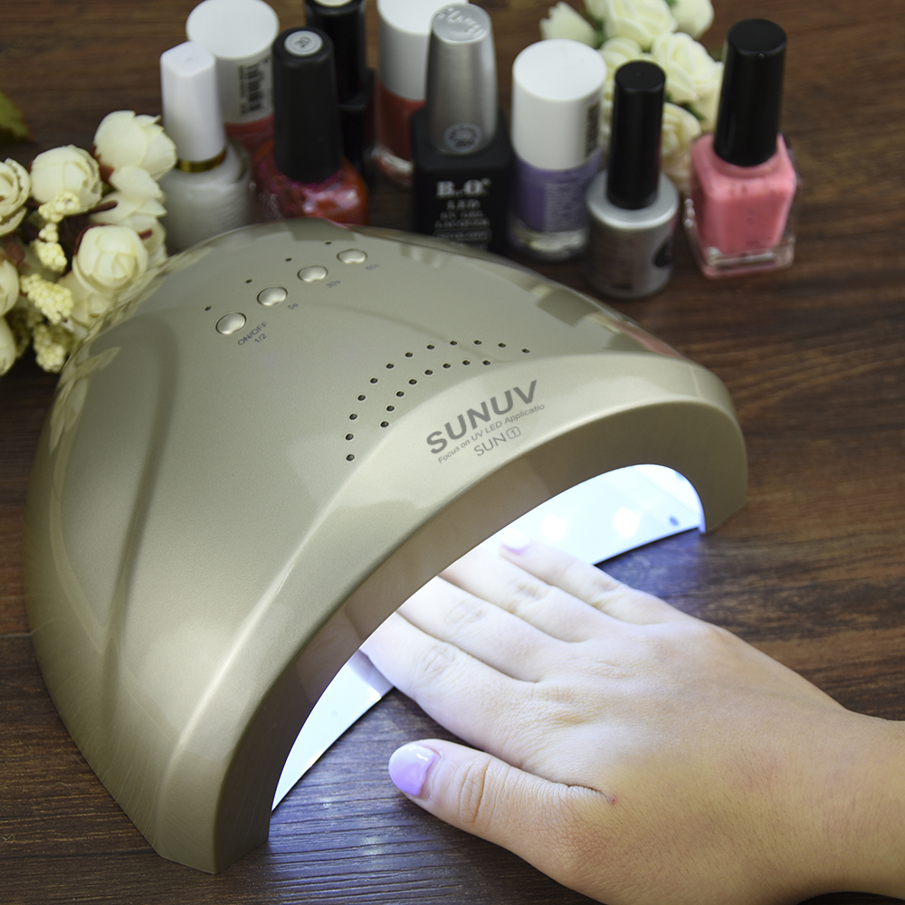 48W Auto Sensor LED SUN Light Lamp Nail Dryer for Nail Gel Polish 365-405nm Double Light with Auto Induction Timer Setting<br>