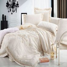 Luxury Beige Jacquard Silk Duvet Cover Queen King Size 4/6pcs Embroidered Princess Satin Bedclothes Bedding Set Bed Linen Cotton(China)