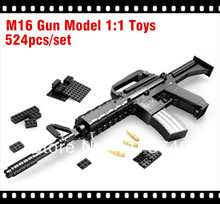 524pcs/set*M16 Gun Model 1:1 Toys Building Blocks Set*Educational DIY Assembly Bricks Toy*Cross Fire Battle*Free Shipping P22607