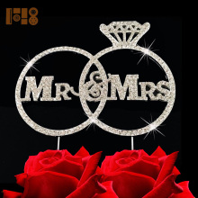 (20 pieces/lot)FREE SHIPPING! Sliver Mr&Mrs two rings cake topper,diamond Mr&Mrs rhinestone wedding cake topper(China)