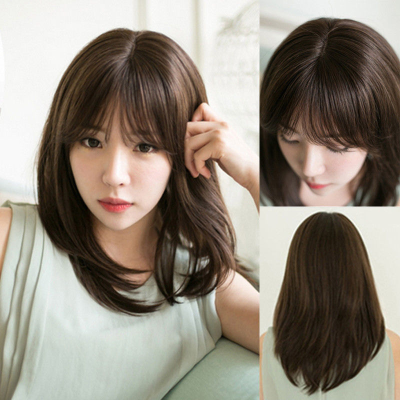 35CM Clearance sale Black Brown Synthetic Wigs Neat Bangs Female Wig Medium Long Straight Full Cosplay Daily  WM0619111 <br><br>Aliexpress