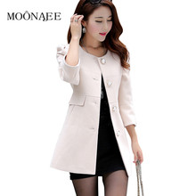 women's spring woolen jackets autumn winter fashion trench 3/4 sleeve Slim long wool coat female S-XXL QY15080305