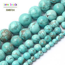 wholesale Natural Stone Beads Blue turquoises Round Beads For Jewelry Making 15.5 inches Pick Size 4 6 8 10 12 14mm (F00041)