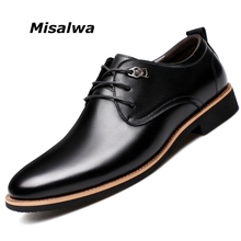 Misalwa 2017-2018 Men Dress Shoes Simple Style Quality Men Oxford Shoes Lace-up Brand Men Formal Shoes Men Leather Wedding Shoes(China)