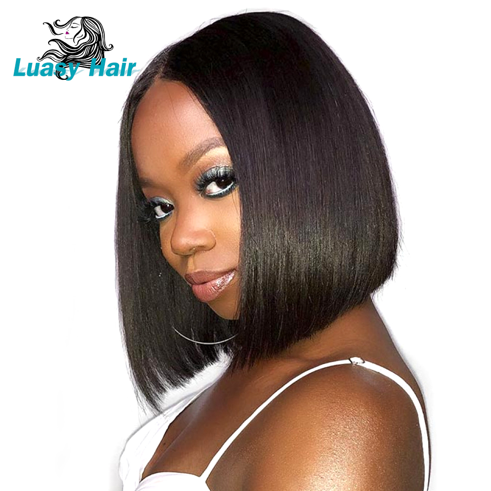 13*4 Short Lace Front Human Hair Wigs For Black Women Brazilian Remy Hair Bob Wig With Baby Hair Pre Plucked Bleached Knot Luasy(China)