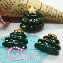 25*26mm 50pcs/lot resin Christmas tree flat back cabochon for ornament(China)