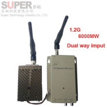 big power 6W dual way video imput 1.2G transceiver for cctv 1.2G CCTV transmitter 1.2G Video Audio Transmitter Receiver