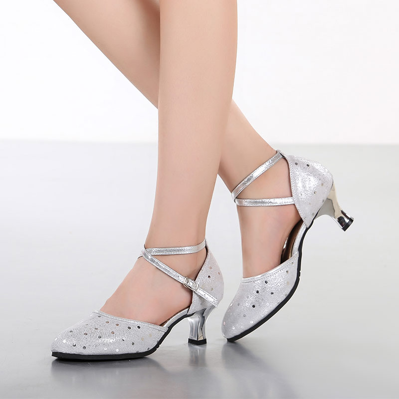 Outdoor Ballroom Party Latin Dance Shoes Women Ladies Handmade Mid Heel 5.5cm Salsa Dance Shoes Rubber Sole<br><br>Aliexpress