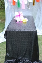 "Sequin Tablecloth Wedding Cake Tablecloth ,Rectangle /square Sequins Table Linen , wedding sequin table linens 90""X90""Black(China)"