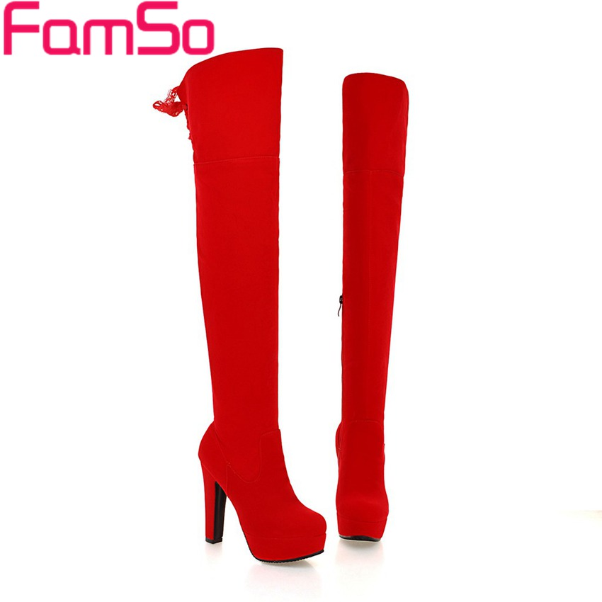 Free shipping 2017 New Shoes Womens Boots Black red Shoes Designer Female Over the Knee Boots Winter Warm Snow Boots ZWB3898<br>