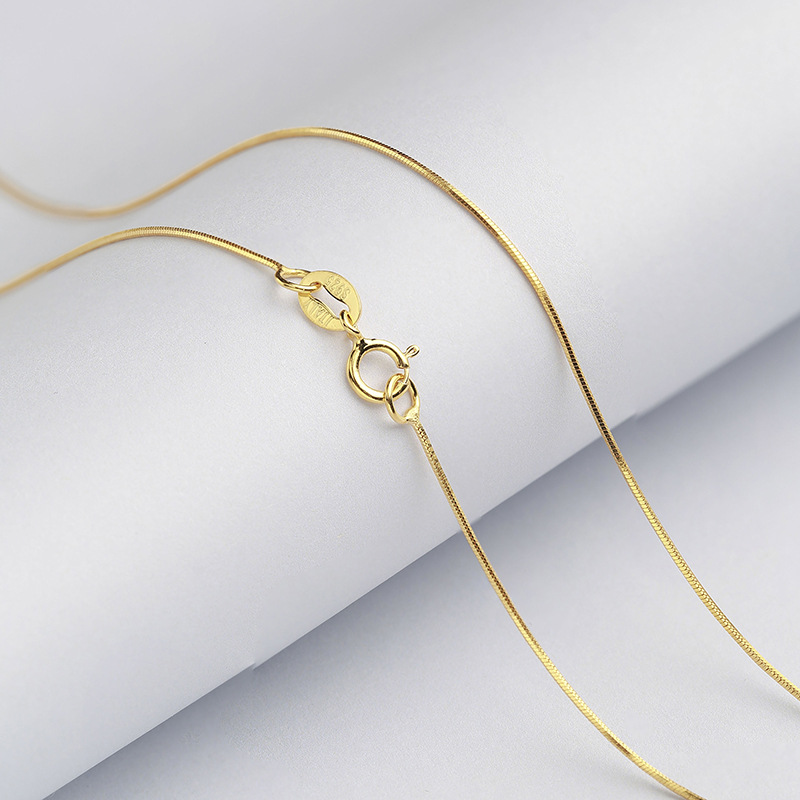 Wholesale-Sterling-Silver-Necklace-Women-925-Silver-Snake-Chain-Three-Gold-Color-0-6mm-Thinkness-Silver