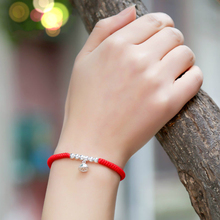Wholesale 925 Sterling Silver Beads Shamballa Bracelet Red  Rope Lucky Bangle Handmade Fashion Jewelry