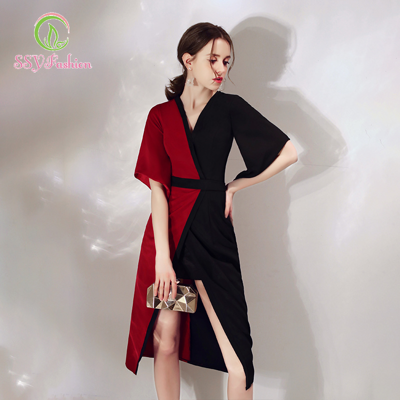 SSYfashion Half Sleeves V-Neck Zipper Back Black and Red cocktail Dresses Custom Party Formal Dresses Robe De Soiree