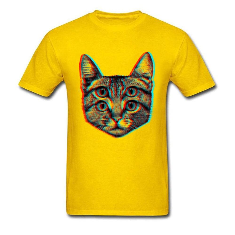 3D Cat Summer/Fall 100% Cotton O-Neck Tops T Shirt Short Sleeve Casual T Shirt 2018 New Funny T Shirt Free Shipping 3D Cat yellow