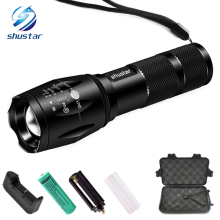 Big Promotion Ultra Bright CREE XM-L T6 LED Flashlight 5 Modes 4000 Lumens Zoomable LED Torch 18650 Battery + Charger + gift