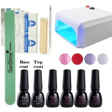 Nail Art Kits 36W UV Lamp Manicure Set Nail Base Gel Top Coat Remover Wraps 4 Colors Nail Gel Set Manicure Tools Set UV Gel Kit