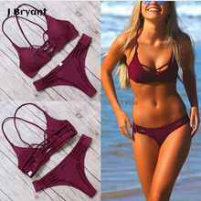 2017 Women Bandage Bikini Set Push-up Padded Bra Swimsuit Female Burgundy Green Criss Cross Design Swimwear Beachwear Biquini