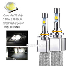 Car Fanless LED Headlight Kit For Cree xhp70 LED 6000K Replacement 55W 6600LM bulb H4 H7 H8 H9 H11 9005 9006 9012 auto fog lamp(China)