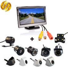 "2In1 Car Parking System Kit 5"" Desktop Bracket TFT LCD Color Monitor 5 Inch HD Display Screen + Rear View Camera Waterproof(China)"