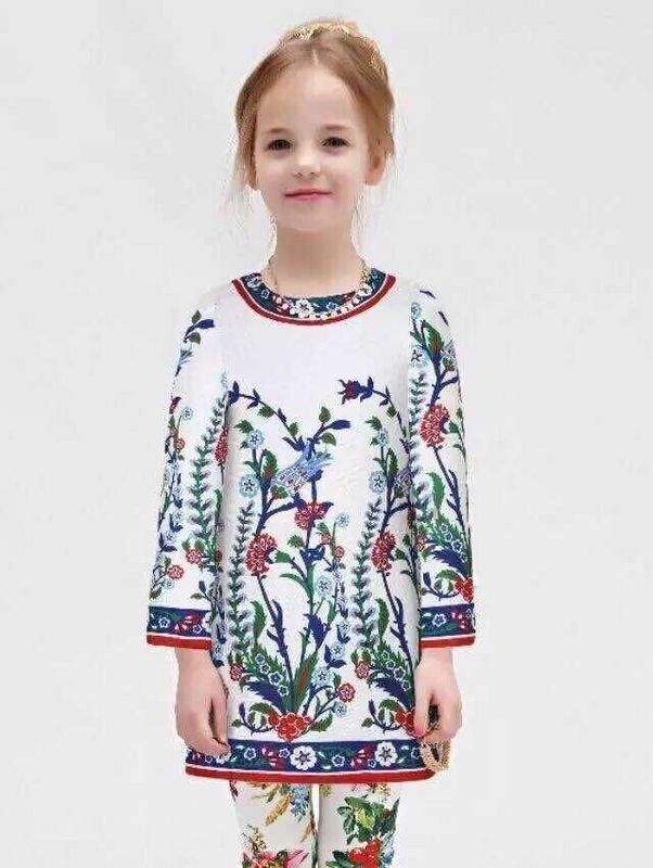 High End 2015 Luxury Brand Designer Wl Monsoon Winter Girls Dress Dobby Floral White Beading Dress Children Clothing Baby Girl<br><br>Aliexpress