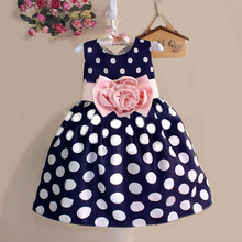 2017New Stylish Kids Toddler Girls Princess Dress Sleeveless Polka Dots Bowknot Dress! 2 color Top quality navy blue white