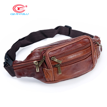 Qianxilu Men Retro  Genuine Leather Waist Packs Cowhide Travel Fanny Pack with Phone Coin Purse Shoulder Bags Messenger Bag