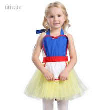 Titivate Halloween Rapunzel Snow White Costume Carnival Party Princess Cosplay Apron Fancy Dress Blue Yellow M L For Kids Girls