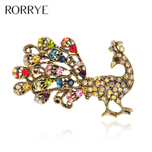 Vintage Brooches For Women Antique Golden Full Rhinestone Crystal Peacock Bird Pin Brooch for Lady Girl