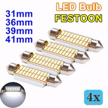 flytop 4 PCS FESTOON 31mm 36mm 39mm 42mm LED Bulb C5W C10W CANBUS No Error DC 12V White Color 4014 SMD Car Dome Light Auto Lamp(China)