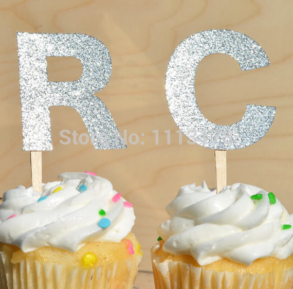 Silver Glitter Initial Cupcake Toppers Party Picks Toothpicks Food ...