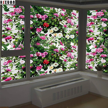 frosted static window privacy film 80x100cm PVC 3D cam floral stained cellophane Decor window glass stickers Hsxuan brand 803103(China)