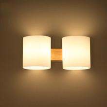 Oak Modern wooden Wall Lamp Lights For Bedroom/bathroom Home Lighting Wall Sconce solid wooden wall light double heads(China)
