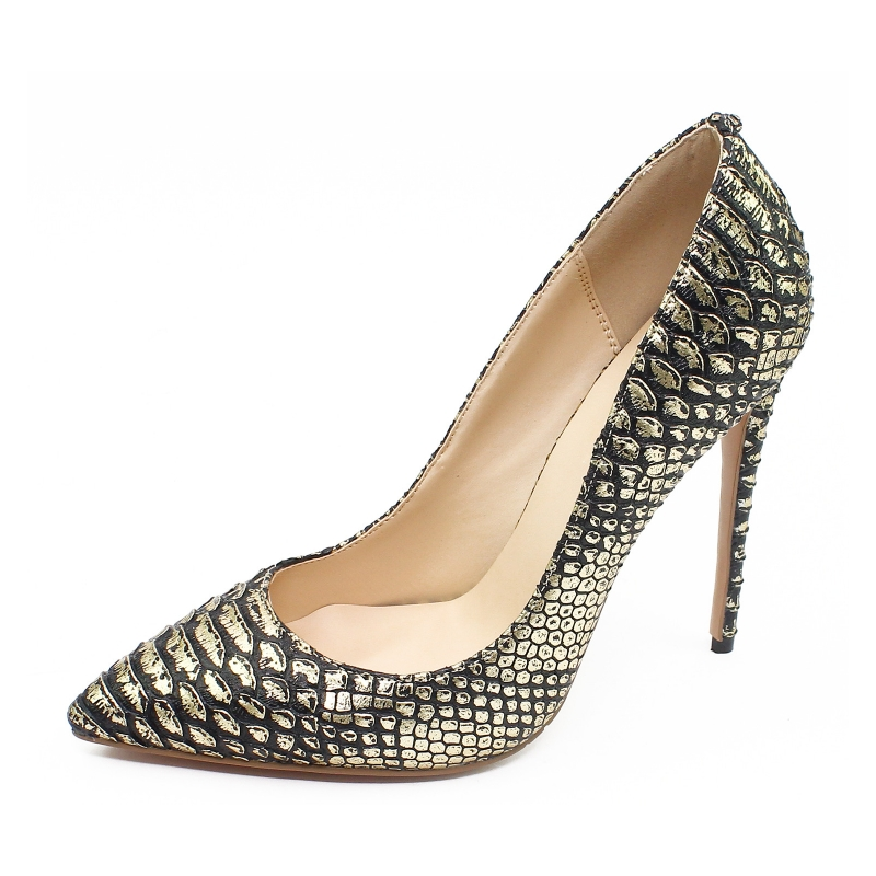 Gold High Heel Shoes 2018 Snake Printing Women Shoes Pumps 12 CM Pointed Toe Genuine Leather Stiletto Party Shoes SR-B0023<br>