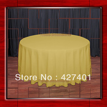 "Hot Sale  132"" R Gold Round Table Cloth Polyester Plain Table Cover for Wedding Events &Party Decoration(Supplier)"