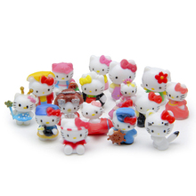 16pcs Hello Kitty Mini Fairy Garden Decor Miniatures Home Accessories Jardin Terrarium Bonsai Dollhouse Zakka Succulent Gnomes