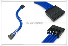Molex 4PIN to Sata connector adapter/extension cable 18AWG with Blue Sleeving --- 400mm