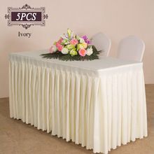 High Quality 5PC/Pack Polyester Black Tablecloth Fitted Pleated Table Skirt of Wedding Banquet Party Hotel Table Decoration(China)