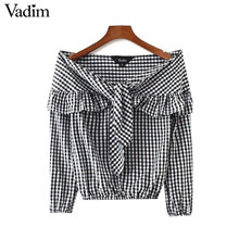 Vadim cute slash neck bow tie neck ruffles plaid shirts off shoulder long sleeve casual streetwear tops mujer blouses LT2252(China)