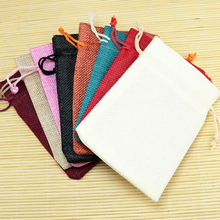 Hot New Sale Jute Packing Bags Jewelry Pouches Linen Gift Bags 12 Colors to Pick 10pcs/lot Nice Jute Drawsting Pouches 13x18cm