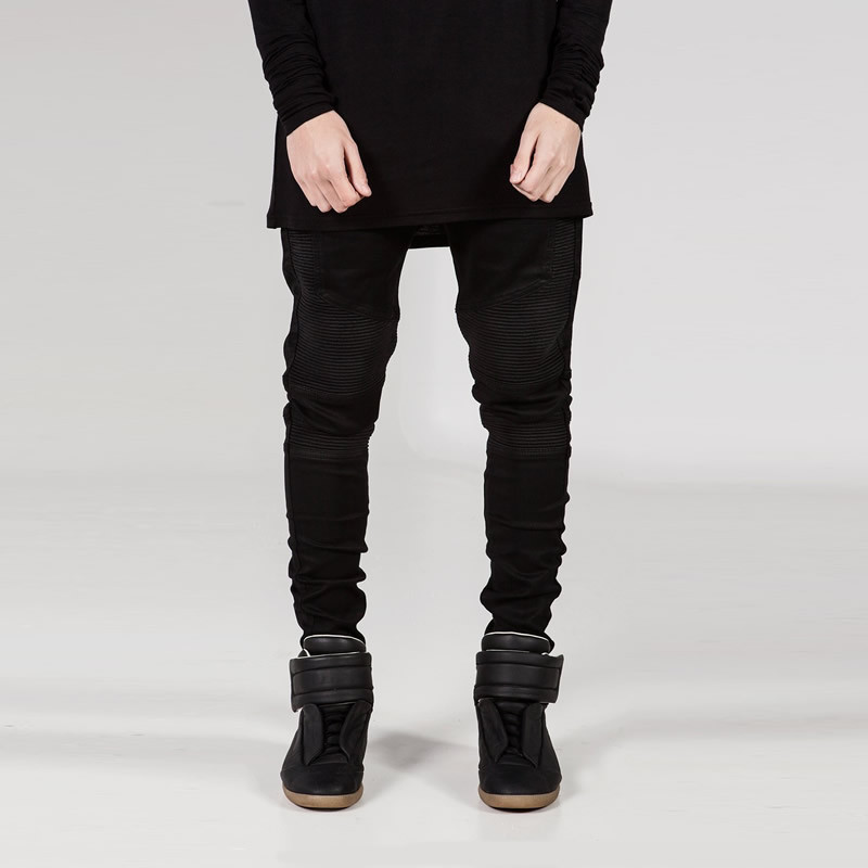 2016 Fashion Brand Zipper Mens Biker Jeans British Style Harajuku Slim fit Jeans Men Pants Black Motorcycle Rock Jeans MenÎäåæäà è àêñåññóàðû<br><br>