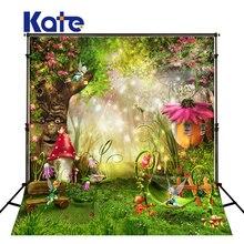 5x7ft Kate сказочный лес фотографии фонов дети Фоны Аксессуары для фотостудий грибы эльфы Цветы фото Задний план(China)