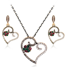 Vintage Heart Necklaces & Pendants And Earring Set Costume Jewellery Accessories Women Bridal Jewelry Set