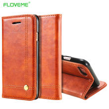 FLOVEME Phone Cases For iPhone 6 6s 7 7 Plus Luxury Men Flip Leather Brown Wallet Mobile Cover Case For iPhone 7 6s 6 Capinhas(China)