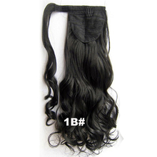 "QQXCAIW Women Natural Long Curly Blonde Black Brown 20"" 55 Cm Drawstring Ponytail Synthetic Hair Extensions"