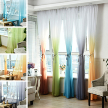 2.7m Window Tulle Curtains Colorful Sheer Voile Tulle for Bedroom Living Room Balcony Kitchen Home Decoration Curtain