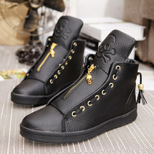 Buy High-Top Genuine Leather Men'S Casual Shoes White Lace Skull Young Student Style Shoes Black White Zipper Men Shoes for $28.11 in AliExpress store